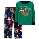 Toddler Boy Carter's 2-Piece Santa Sloth Fleece Pajamas