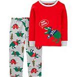 Toddler Carter's 2-Piece Dinosaur Christmas Fleece Pajamas