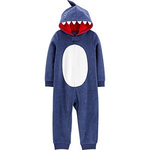 Toddler Neutral Carter's 1-Piece Shark Hooded Fleece Footless Pajamas