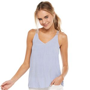 Juniors' SO® Double Strap Smocked Back V-Neck Tank Top