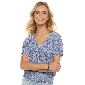 Juniors' SO® Smocked Bottom Cinched Sleeve Top