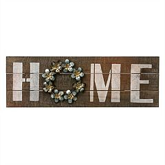 'Home' Wood and Metal Wall Sign