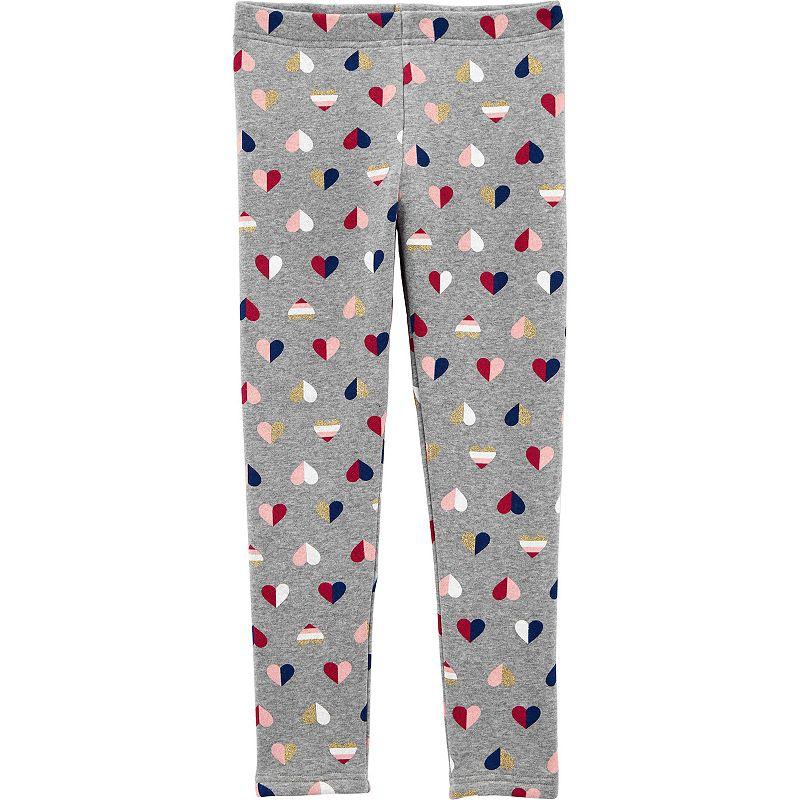 Girls 4-14 Carter's Heart Cozy Fleece Leggings, Girl's, Print