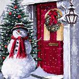 Snowman Outside the Door LED Wall Decor