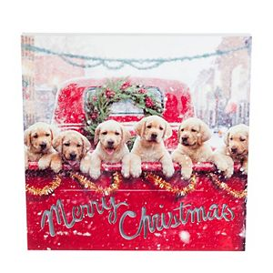 Lab Puppies in Red Truck LED Wall Decor