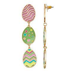 Gold Tone Easter Eggs Triple Drop Earrings