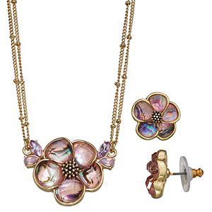 Napier Flower Pendant & Button Earring Set