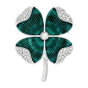 Napier Silver Tone & Green Four Leaf Clover Pin