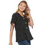 Women's Citrus & Lemon Short Sleeve Polka Dot Top