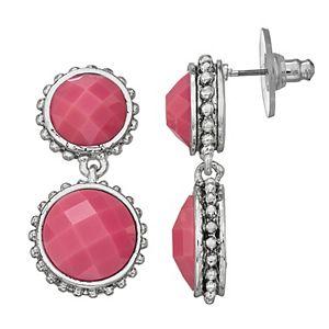 Napier Pink Circle Nickel Free Double Drop Earrings
