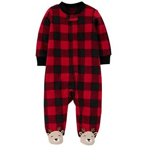 Baby Carter's Buffalo Check Deer Fleece Footed Pajamas