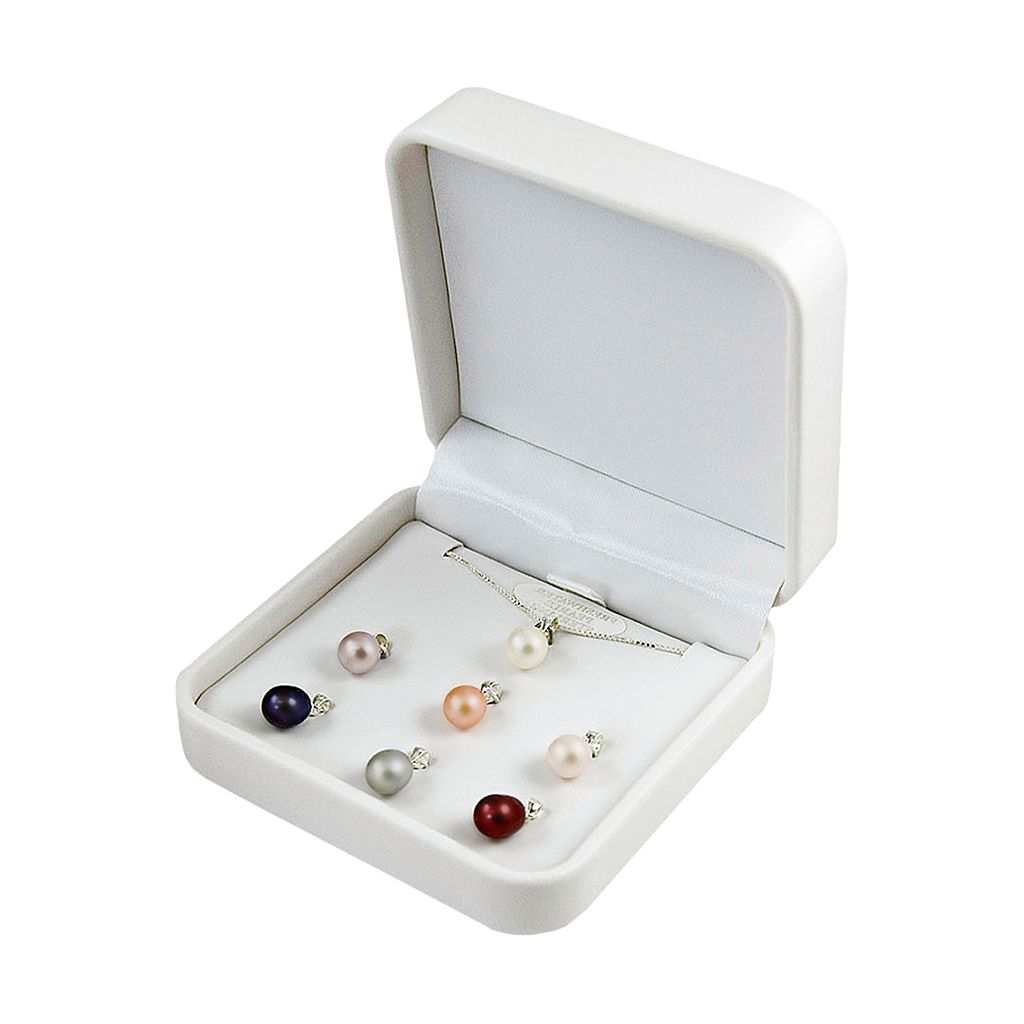 Sterling Silver Interchangeable Dyed Freshwater Cultured Pearl Drop Pendant Set