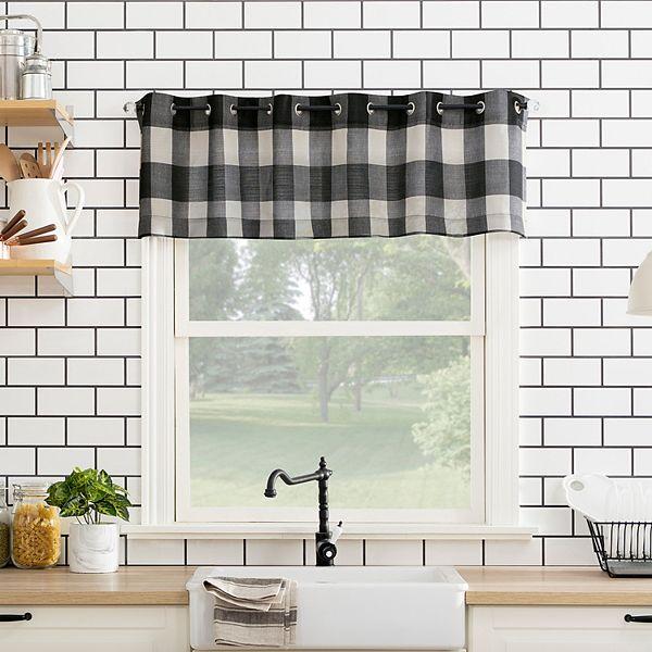 Top Of The Window Buffalo Plaid Grommet Kitchen Curtain Valance