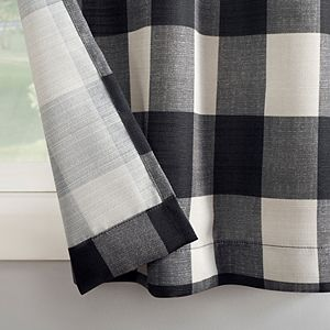 Top Of The Window Buffalo Plaid Grommet Kitchen Curtain Tier Pair