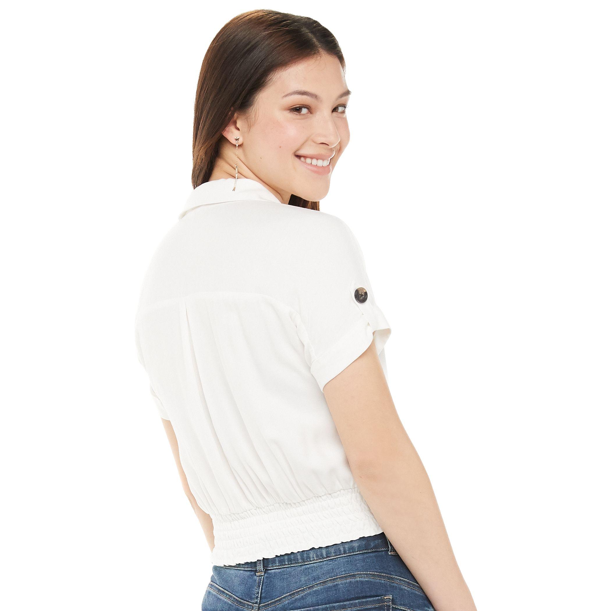 Juniors' Candie's® Smocked Camp Shirt