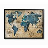 Stupell Home Decor Vintage Abstract World Map Wall Art