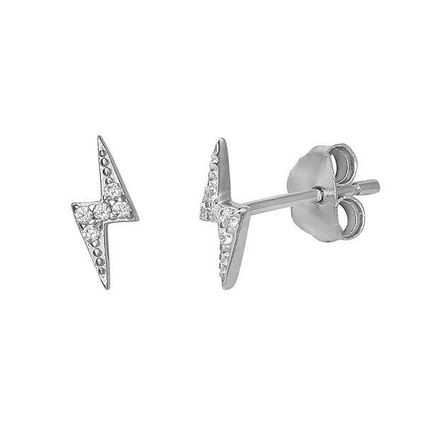 Primrose Sterling Silver Cubic Zirconia Lightning Bolt Stud Earrings