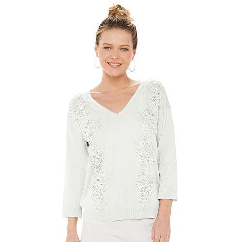 Women's ELLE™ Crochet V-neck Pullover