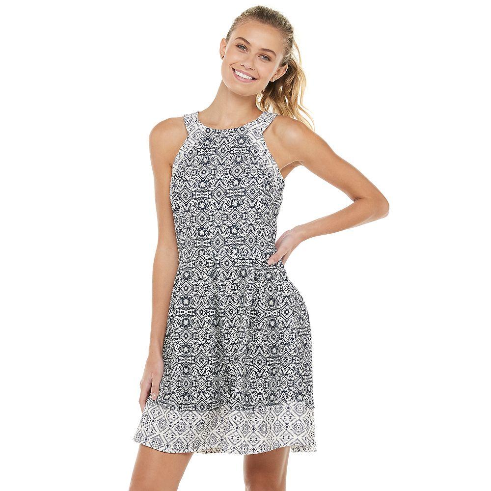 Juniors' Rewind Mixed Print Textured Knit Skater Dress