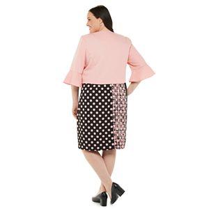 Plus Size Maya Brooke Sleeveless Dress & Bell Sleeve Jacket Set