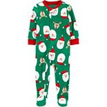 Toddler Carter's Green Santa Fleece Footie Pajamas