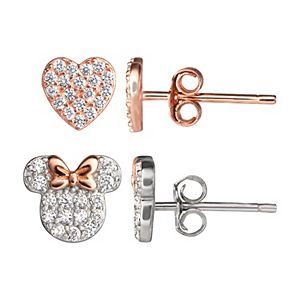 Disney's Minnie Mouse Rose Gold Tone & Sterling Silver Earring Set