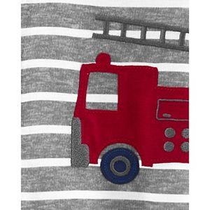 Toddler Boy Carter's Fire Truck Striped Footed Pajamas