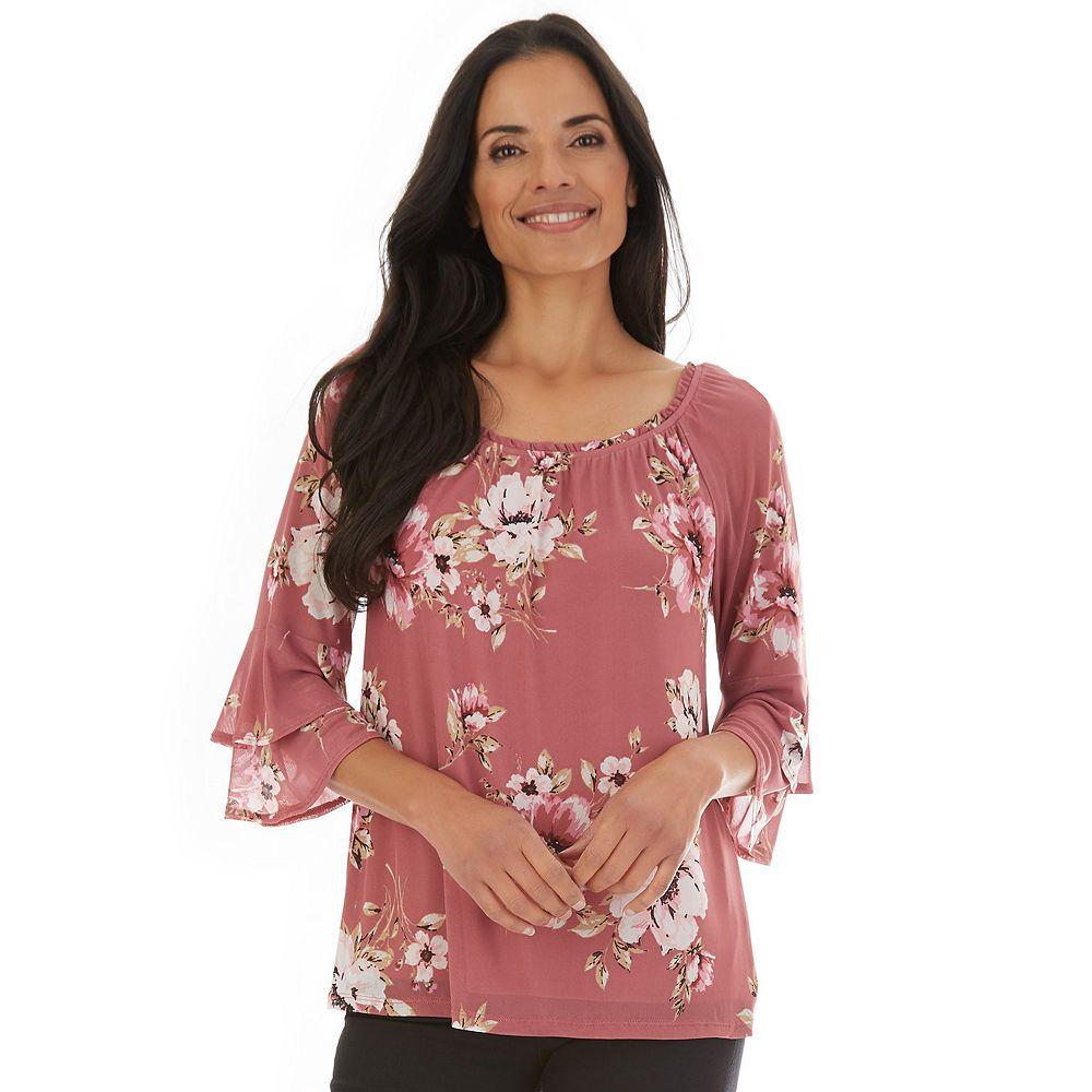Petite Apt. 9® Floral Tiered-Sleeve Mesh Top