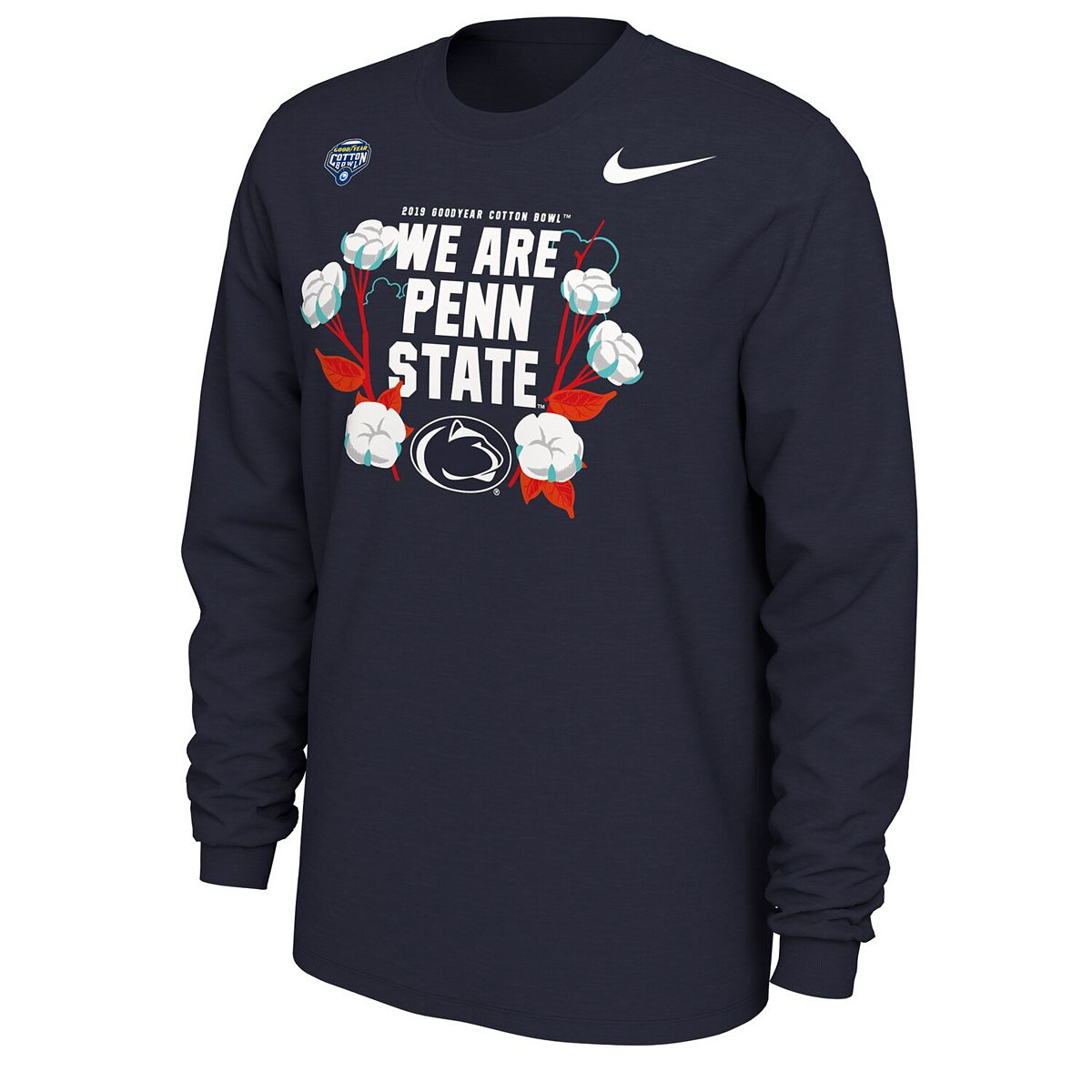 Men's Nike Navy Penn State Nittany Lions 2019 Cotton Bowl Bound Verbiage Long Sleeve T-Shirt oQ1VA