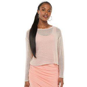 Women's Jennifer Lopez Open-Stitch Boxy Sweater