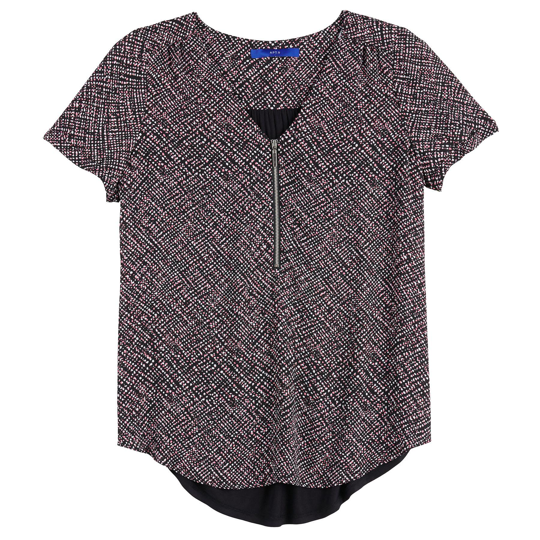 Women's Apt. 9® Lace Zipper-Neck Top