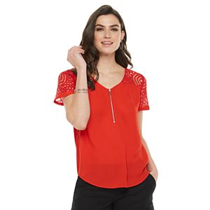 Women's Apt. 9® Lace Zipper-Neck Top
