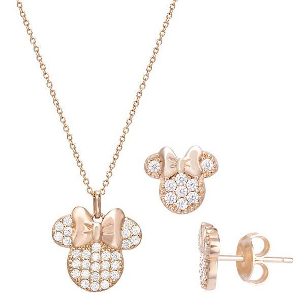 Disney's Minnie Mouse Cubic Zirconia Pendant Necklace & Stud Earring Set