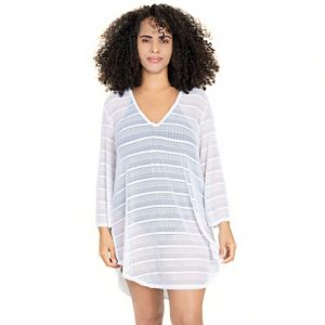 Plus Size Jordan Taylor Beachwear Shirttail Tunic V-Neck Cover Up