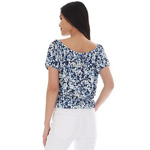 Juniors' IZ Byer Button Front Ruffled Top