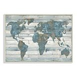 Stupell Home Decor Rustic Planked World Map Wall Plaque Art