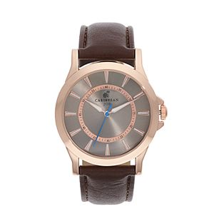 Caribbean Joe Men's Retro Rose Gold Tone Brown Strap Watch - CJ7100RG