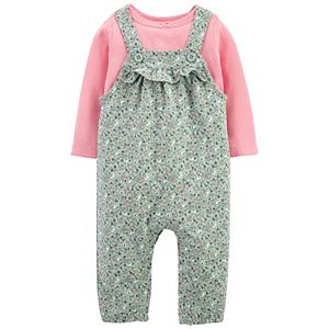 Baby Girl Carter's Top & Floral Overalls Set