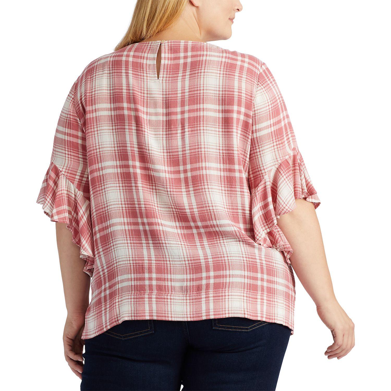 Plus Size Chaps Plaid Ruffle-Sleeve Top
