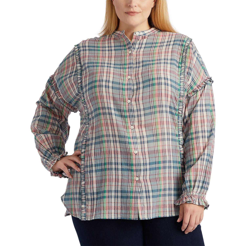 Plus Size Chaps Plaid Ruffle-Trim Shirt