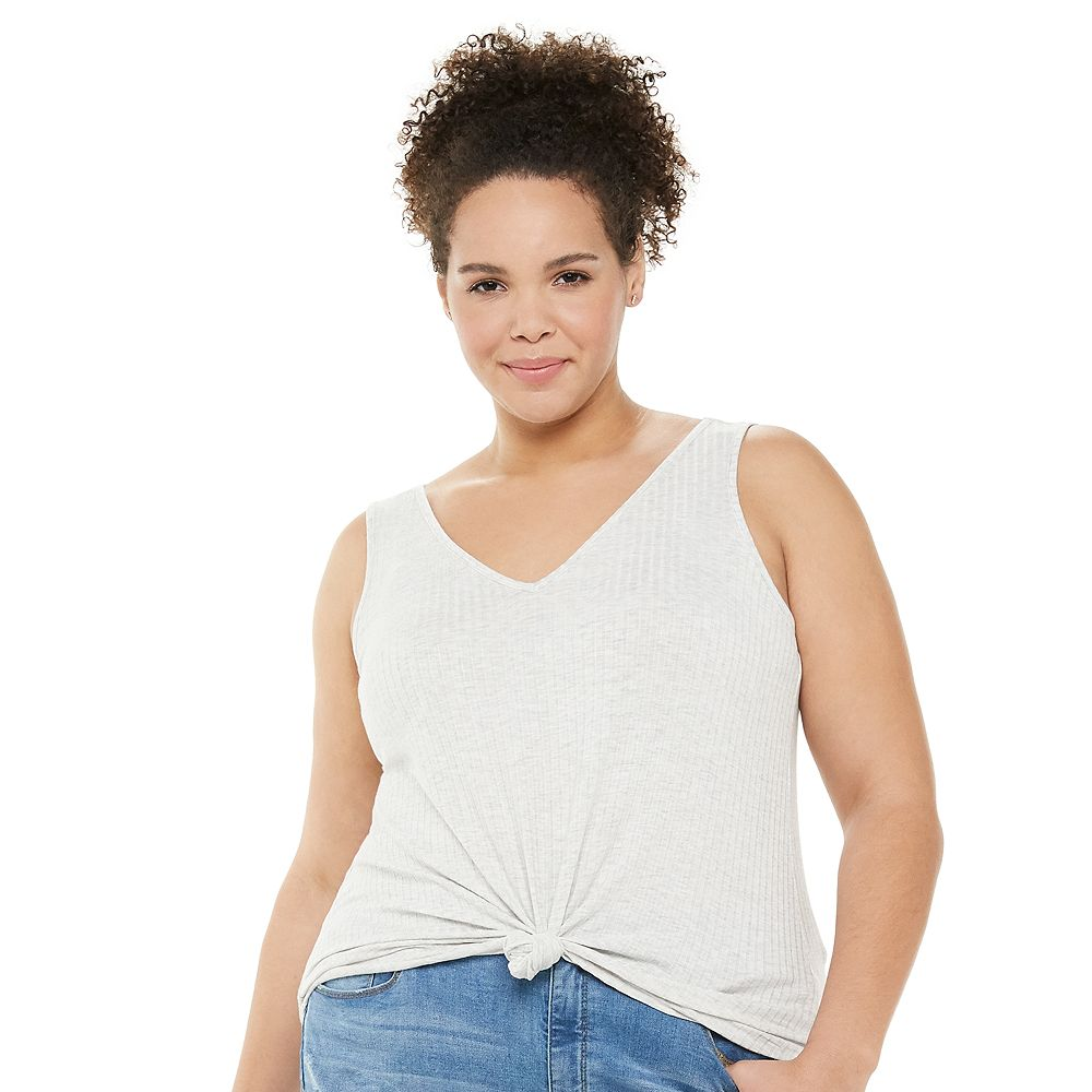 Juniors' Plus Size Mudd® Double V-Neck Tank Top