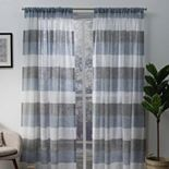 Exclusive Home 2-pack Bern Stripe Sheer Rod Pocket Window Curtains
