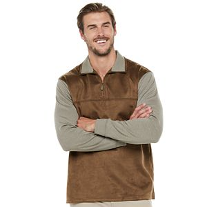 Big & Tall Haggar Classic-Fit Faux-Suede Quarter-Zip Pullover