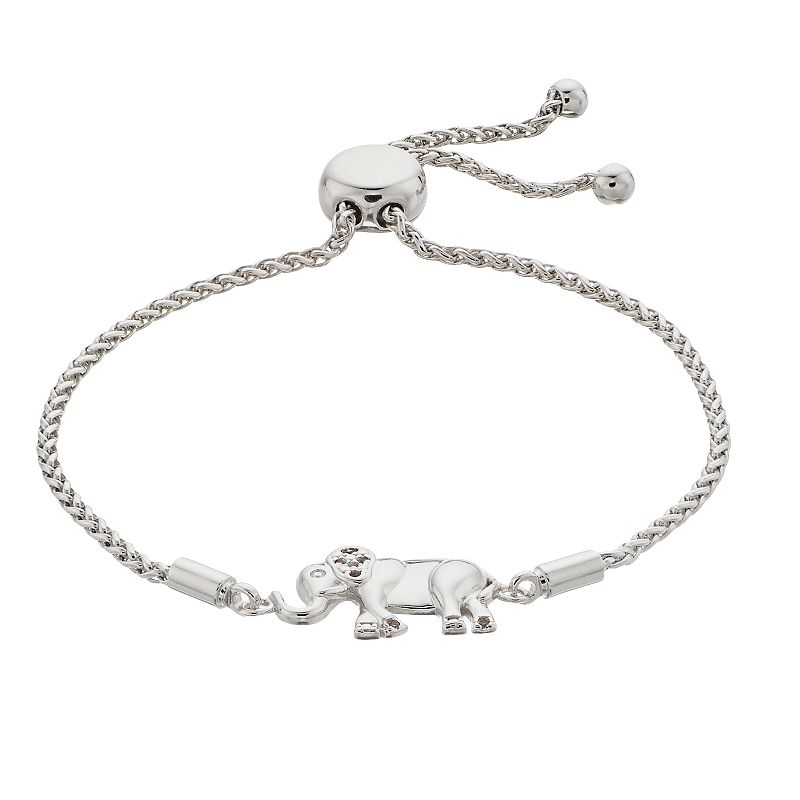 Pretty Little Diamonds Lab Created White Sapphire & Diamond Accent Elephant Bolo Bracelet, Women's