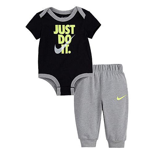 "Baby Boy Nike ""Just Do It"" Bodysuit & Jogger Pants Set"