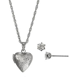 FAO Schwarz Silver Tone Locket Necklace & Stud Earring Set