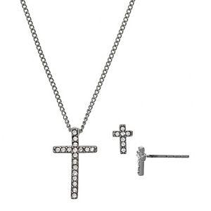 FAO Schwarz Silver Tone Cross Pendant Necklace & Earring Set