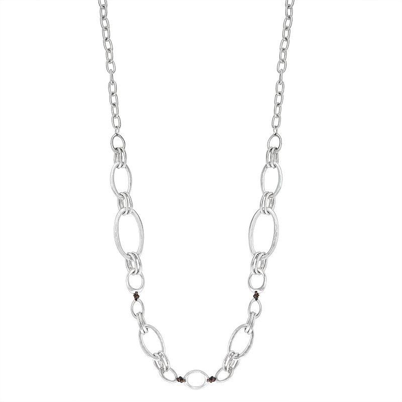 """Bella Uno Worn Silver Open Link Long Necklace, Women's, Size: 36"""""""