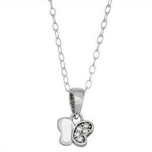Charming Girl Sterling Silver Butterfly Pendant Necklace with Swarovski Crystal
