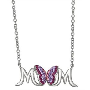 """Crystal Butterfly """"Mom"""" Pendant Necklace"""